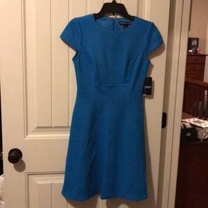 NWT Blue midi gathers at waist with cap sleeves